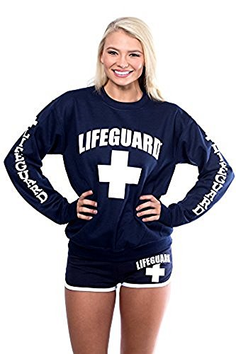 Official LIFEGUARD Ladies Red Crew Neck Sweatshirt (Medium, Navy Blue) (Crewneck Sweatshirt People)