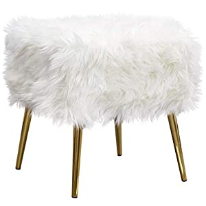 Benjara Benzara Modern Square Accent Ottoman with Angled Metal Legs, White and Gold