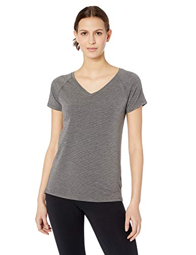 Amazon Essentials Women's Studio Short-Sleeve Lightweight V-Neck T-Shirt, -charcoal heather stripe, Small