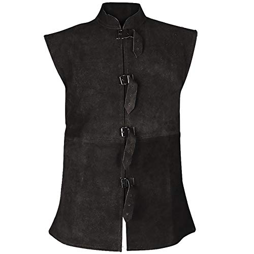 - Orthello Suede Leather Vest Medieval Vest Cosplay LARP Renaissance Jerkin (X-Large, Black)