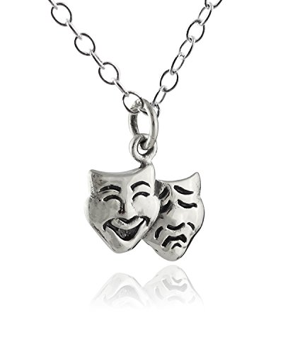 Sterling Silver Tiny Comedy Tragedy Charm Pendant Necklace, 18 Inch Chain
