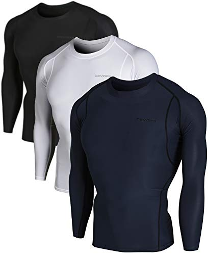 DEVOPS Men's 3 Pack Cool Dry Athletic Compression Long Sleeve Baselayer Workout T-Shirts (Small, Black-Charcoal-White)