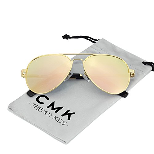 CMK Trendy Kids Kids Polarized Aviator Sunglasses for Boys and Girls or Small Face Adults, 52mm (Pink, (Adult Aviator)