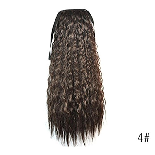 NEWONESUN Womens Ribbon Thick Wavy Curly Long Ponytail Horsetail Clip Hair Extensions (J)