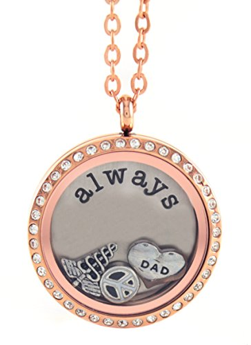 BG247 Stainless Steel Floating Locket Necklace with Choice of 6 Charms, 1 Plate, and Matching Chain (Rose Gold Rhinestone Circle)