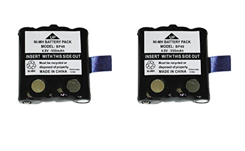 Uniden Two Way Radio Battery (NEW 2 Pack Uniden BP40 Rechargeable Battery for GMR / FRS Radios / Walkie Talkies)