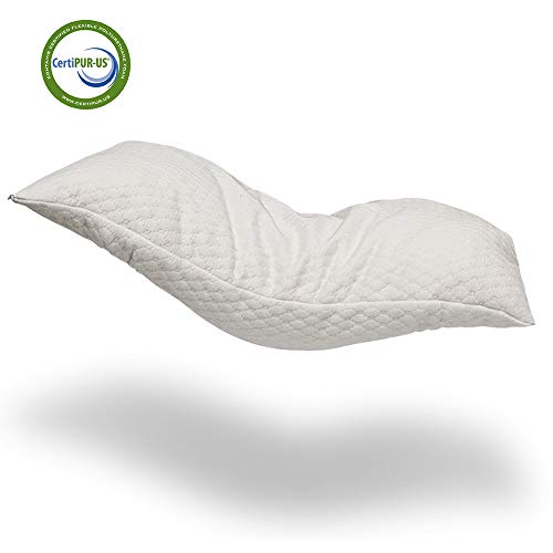 Alasville Natural Shredded Latex Foam Pillow Adjustable Standard/Queen/King Pillow with Removable Breathable Cooling Hypoallergenic Pillow Cover (Standard) -