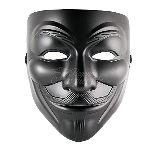 Masquerade Mask For Guys (V for Vendetta Anonymous Guy Fawkes Halloween Masquerade Mask Black)