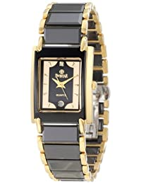 Swistar Women's 7.9570-51L Bk High-Tech Ceramic and Gold Plated Stainless Steel Dress Watch