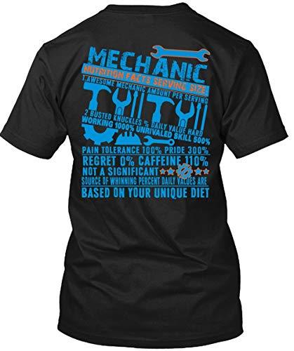 Papaya Tee Mechanic Nutrition Facts Serving Size T Shirt, Awesome Mechanic Amount T Shirt Unisex (XL,Black) ()