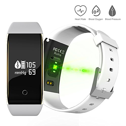EWEMOSI Bluetooth 4.0 Fitness Tracker - Heart Rate Blood Pressure Blood Oxygen Monitor - Sports Activities Calorie Burned Sleep Model - Sports Bracelets
