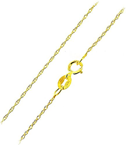 Ladies Gold Chains (Solid 14k Yellow Gold Italian 0.7mm Rope Chain Necklace Italian Thin Lightweight Strong (14, 16, 18, 20, 22, 24 or 30 inch) With Extra 1
