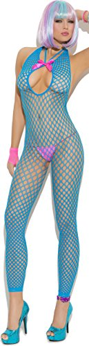 Sexy Crochet Halter Style Footless Bodystocking with Satin Bow and an Open Crotch (One Size) -