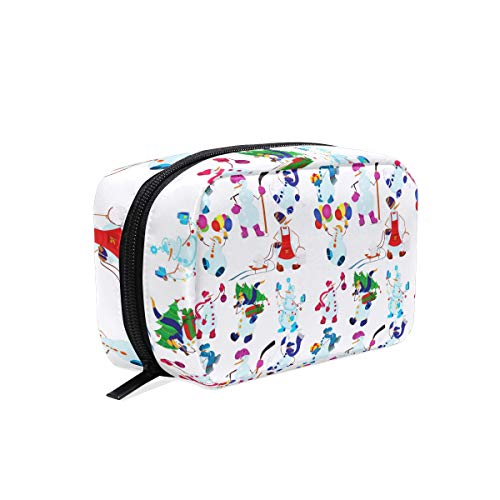 Christmas Tree White Lights square cosmetic bag compartment travel skin care zipper storage bag female