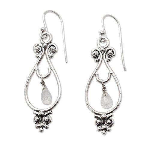 NOVICA Moonstone – Rainbow .925 Sterling Silver Dangle Earrings Classical Beauty