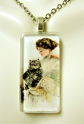 (Girl with striped cat glass pendant - CGP02-305 - Harrison Fisher)
