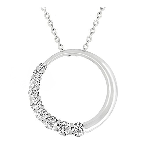 J Goodin Classic Wedding Anniversary Style Graduated Cubic Zirconia Circle Pendant For Women