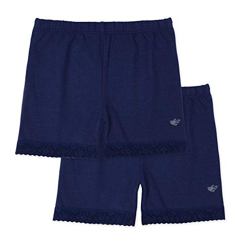 Lucky & Me Leah Girls Shorts Underwear, 2-Pack Underpants for Skirts, Uniforms, Dresses, Navy, 7/8