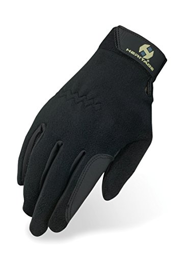 Gloves Horse Riding (Heritage Performance Fleece Gloves, Size 6, Black)