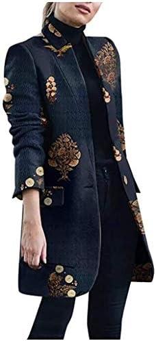 Abrigo tipo cárdigan para mujer chaqueta informal de manga larga con cuello alto y botón con estampado retro chaqueta de trabajo delgada para oficina abrigo