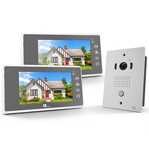 1byone Video Doorphone 2-Wires Video Intercom System kit 2x7-inch Color Monitors and 1x HD Camera Video Doorbell with 49ft Cable, Flush Mounted Outdoor (Video Door Intercom System)