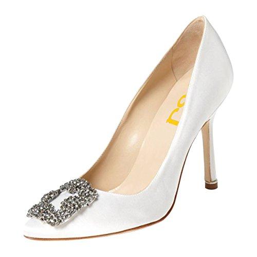 FSJ Women Jeweled Pointy Toe Stiletto High Heels Evening Dress Pumps Rhinestones Satin Wedding Shoes Size 8 Ivory