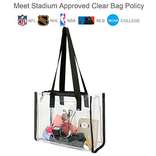 Price comparison product image SharPlus Transparent Clear Tote Purse PVC Shoulder Bag For Women,NFL Stadium Approved Crossbody Handbag With Black Fabric Handle