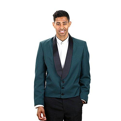 Men's Hunter Green Eton Jacket With Black Lapel Large Regular
