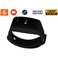 Smart Bracelet Video Rcording Camera,eoqo Video Recording Watch HD 1080P Mini DVR Cam with Time Stamp and G-Sensor - Black Adjustable Wearable Wristband with 16GB Memory Card