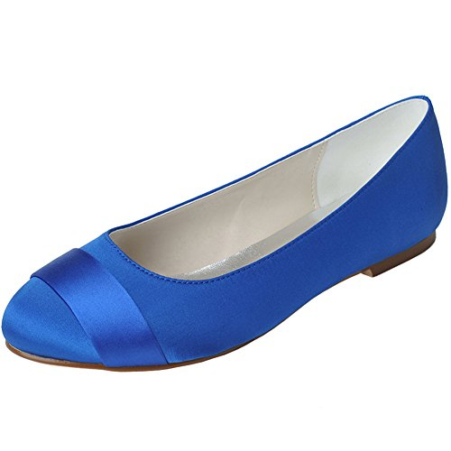 Toe Round Bridal Prom Evening Shoes Low LOSLANDIFEN Satin Heel Flats Blue Women's Wedding E6wxq51