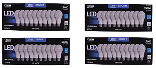 FEIT 100w LED Replacement Bulbs using 15W Daylight 5000K 1600 Lumens (40 Lamps) by Feit Electric