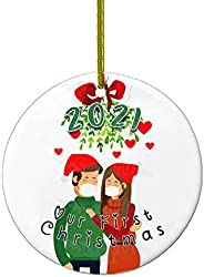 Christmas Ornaments | Our First Christmas 2021 Funny Quarantine Gift | 1st Holiday XMAS Tree Ornament For Newl