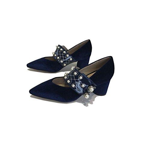 ZFNYY Zapatos Simples Para Mujer de Moda Simple Zapatos Para Mujeres de Perlas de Fondo Redondo y bajo Color Sólido con Zapatos de Corte bajo