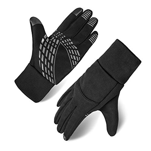 Oprad Touch Screen Gloves Winter Warm Windproof Anti-Skid Lycra Wool Lined for Men Women Texting Cycling Running Motorcycle Outdoors (Black)