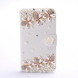 RC - New Luxury Peral Flower Rhinestone Pattern Leather Case with Stand for Samsung Galaxy Note 2 N7100