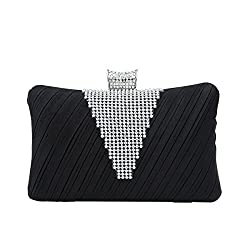 Elegant Pleated Satin Rhinestone Hard Clutch