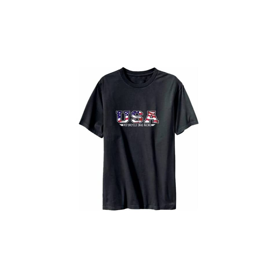 Usa Motorcycle Drag Racing / Flag Clip   Army Mens T shirt