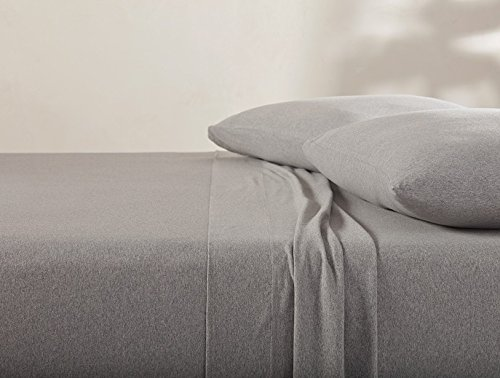 Coyuchi Organic Cotton Jersey Queen Sheet Set - Gray Heather