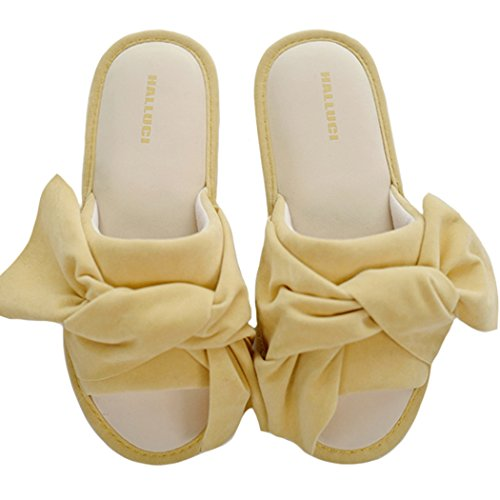 Flocking Accents Big House w Yellow HALLUCI Foam Cozy Bow Women's Memory Slippers Bright SwaqnH6E4