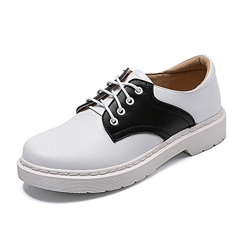 GIY Women's Saddle Oxford Shoes Comfortable Round Toe Two Tone Lace-Up Casual Shoes White (Up Lace Platform Saddle Shoe)