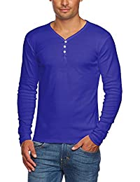 Men's Slim Fit V Neck Long Sleeve Cotton T-Shirt with 3 Button up Opening