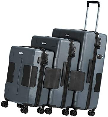 TACH V3 3-Piece Hardcase Connectable Luggage Carryon Travel Bag Set Rolling Suitcase with Patented Built-In Connecting System Easily Link Carry 9 Bags At Once TSA-Approved Lock grey