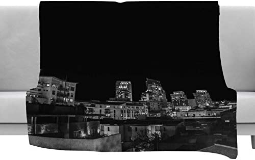 40 x 30 Fleece Blanket Kess InHouse Nick Nareshni Cityscape Nights Black White Photography Throw