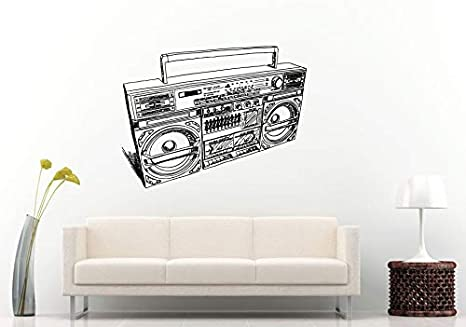 Wall Decals Cute Boom Box Retro Old School Music Player A Track Cassette Tape Radio Speakers Wall Decal Vinyl Sticker Mural Room Decor Made In Usa Fast Delivery Home Kitchen