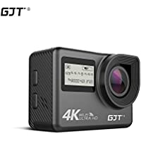 GJT GC1 4K Touchscreen Action Camera Portable Package,WiFi Dual Screen 12MP Ultra HD 30M Waterproof DV Sports Camcorder, 170 Degree Wide Angle Lens, 2.4Ghz Remote Control, with 2x1350mAh Batteries