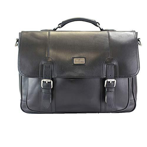 "Italian Veg Tan Leather Briefcase, 15"" Laptop Section, Adjustable/Detachable Shoulder Strap, British Belt Co. Lanlay Collection"