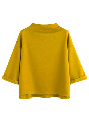 SweatyRocks Women's 3/4 Sleeve Cowl Neck Basic Loose T-shirt Elegant Blouse Tops (X-Large, (Funnel Neck Shirt)