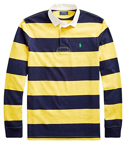 Ralph Lauren Polo Men's Iconic Cotton Long Sleeve Striped Rugby Shirt (Chrome Yellow/Cruise Navy, Medium)