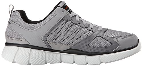 Skechers Sport Mens Equalizer 2.0 On Track Lace Up Sneaker Light Gray/Black, 7.5 M US Light Gray/Black