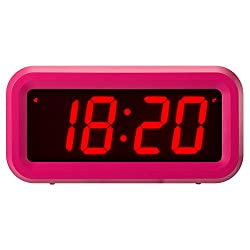 ChaoRong Small Wall /Shelf /Desk Digital Clock Only Battery Operated For Girls Kids or Women. (Pink)
